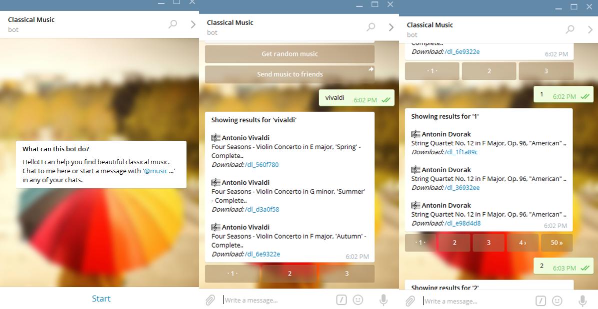 classical music bot menu - Techweez